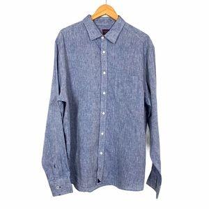 Untuckit Linen Button Up Shirt XXL Blue